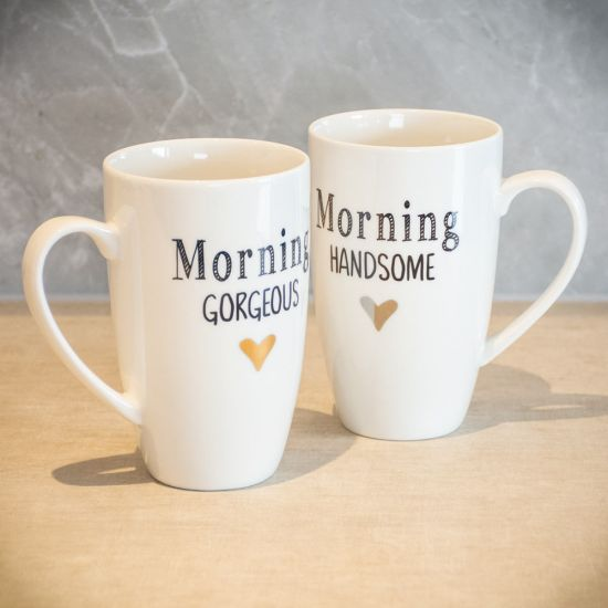 Morning Handsome/Gorgeous Mugs – Twin Pack