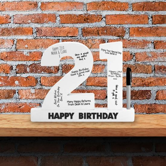 21st Birthday Wooden Numbers and Pen - Lifestyle