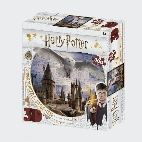 Harry Potter Super 3D Puzzles 300Pc Hogwarts And Hedwig - grey background