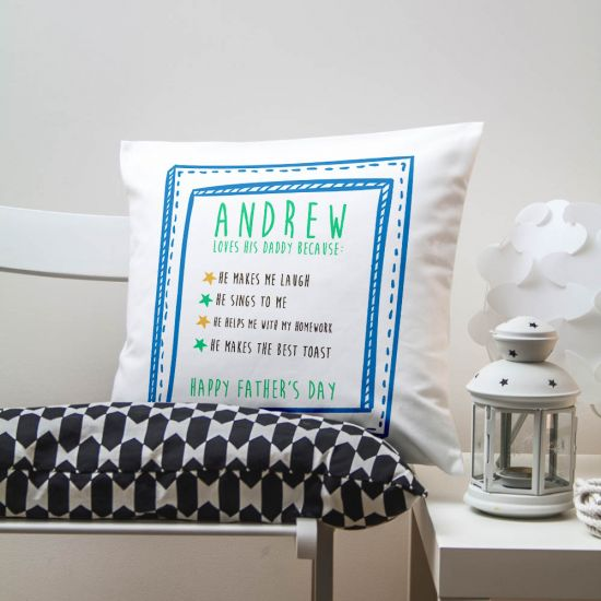Personalised Boy's I Love Daddy Because; Cushion 1