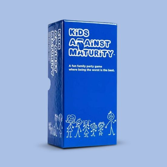 kids against maturity packaging on a blue background