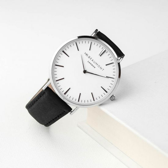 Personalised Men's Leather Watch In Black (Serif) 1