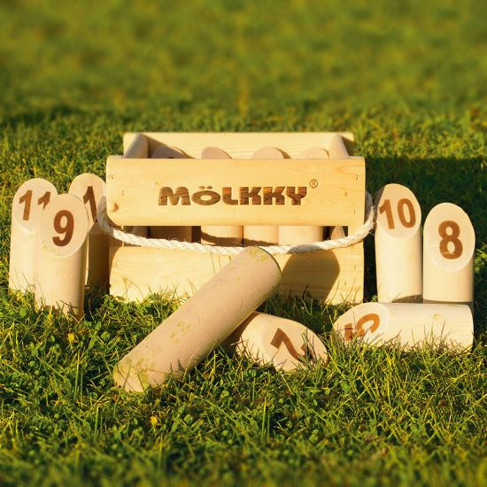 Molkky set in Wooden Crate sat on green grass