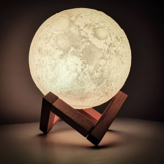 3d moon lamp in the dark