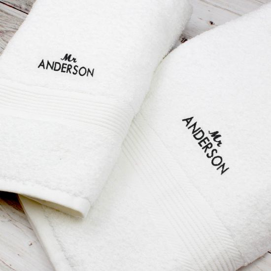 Personalised Mr White Hand and Bath Towel Set 1