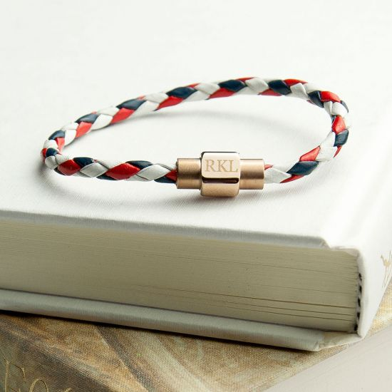 Personalised Men's Nautical Leather Bracelet With Gold Clasp 1