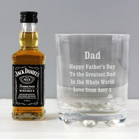 Personalised Happy Father's Day Glass and Mini Whiskey Set