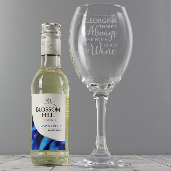 "Personalised  ""Time for Wine"" Glass and White Wine Set"
