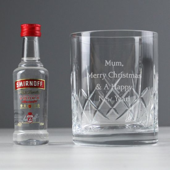 Personalised Cut Crystal Glass and Vodka Gift Set