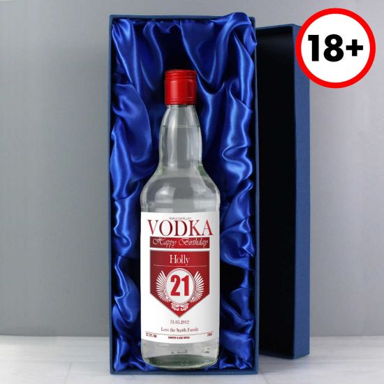 Personalised Red and Silver Birthday Vodka with Gift Box