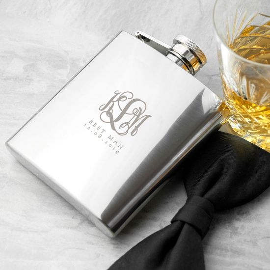 Personalised Monogrammed 6oz Hip Flask - Lifestyle