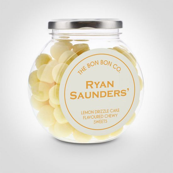Personalised Lemon Drizzle Cake Bon Bon Sweet Jar