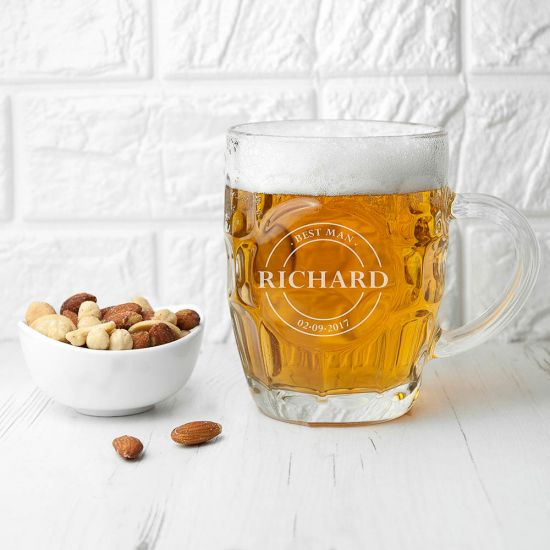 Personalised Emblem Dimpled Beer Glass 1