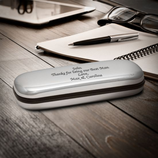 Personalised Engraved Glasses Case Box - Chrome