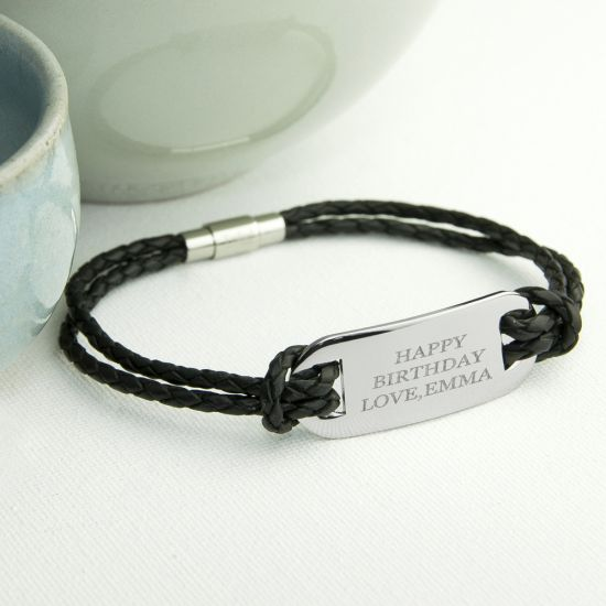 Personalised Men's Statement Leather Bracelet in Black 1