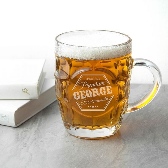 Personalised Premium Dimpled Beer Glass 2