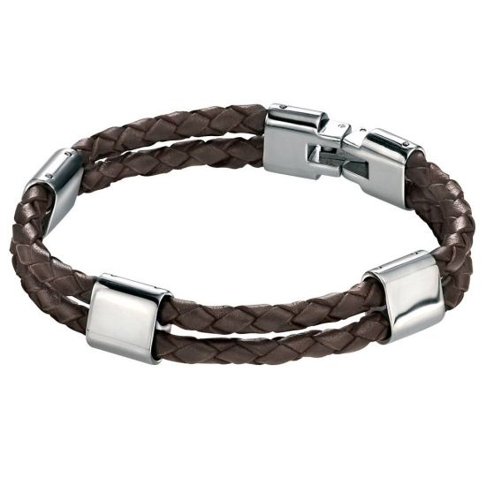 Stainless Steel Leather Bracelet B3671