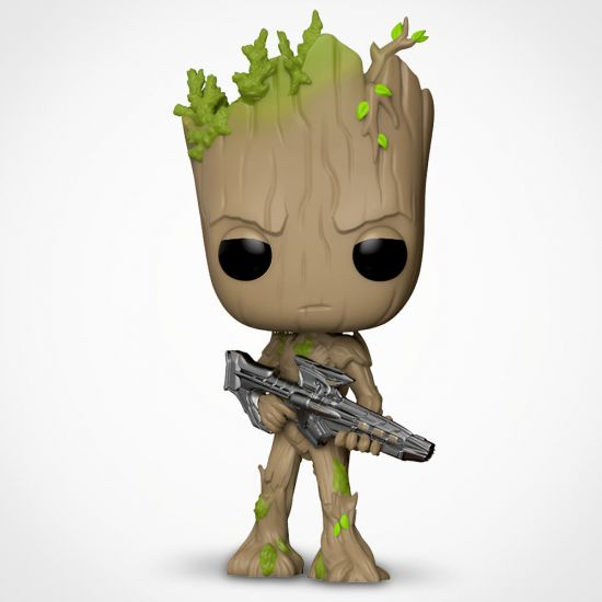 Marvel Avengers Infinity War Groot Pop! Vinyl on a grey background holding a space gun