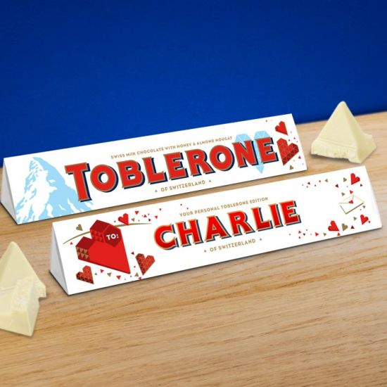Personalised 360g White Chocolate Valentine's Toblerone - lifestyle