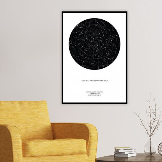 Black star map with white background in lounge with armchair