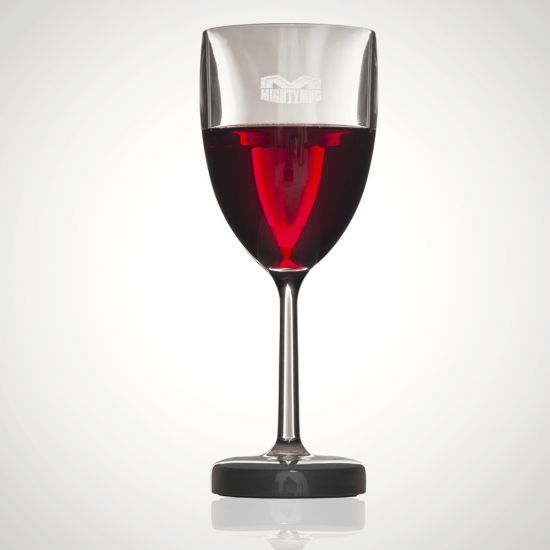 Mighty Mug Wine Glass That Won't Fall Over on grey background