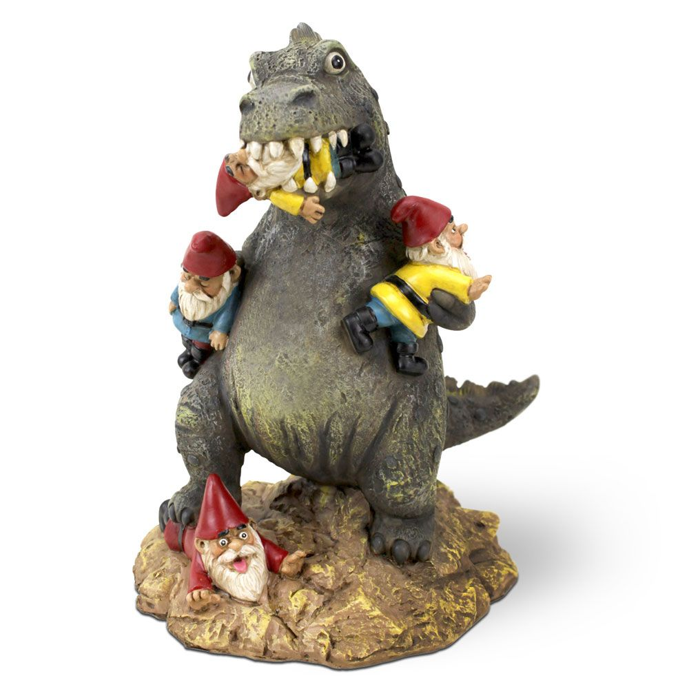Great Garden Gnome Massacre   Statue Of T Rex Eating Gnomes | Menkind