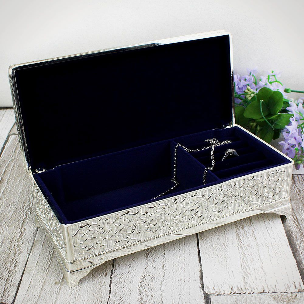 Personalised Silver Plated Antique Style Jewellery Box