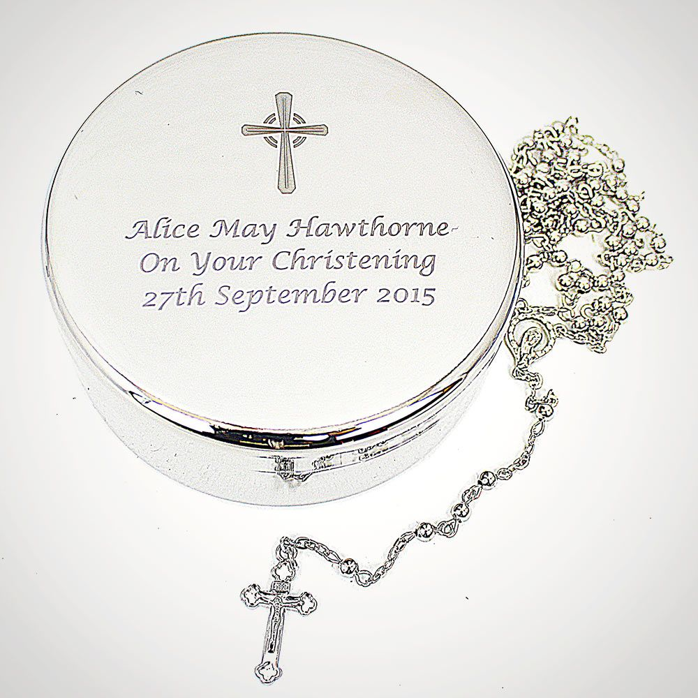 personalised rosary beads and cross round trinket box - grey background
