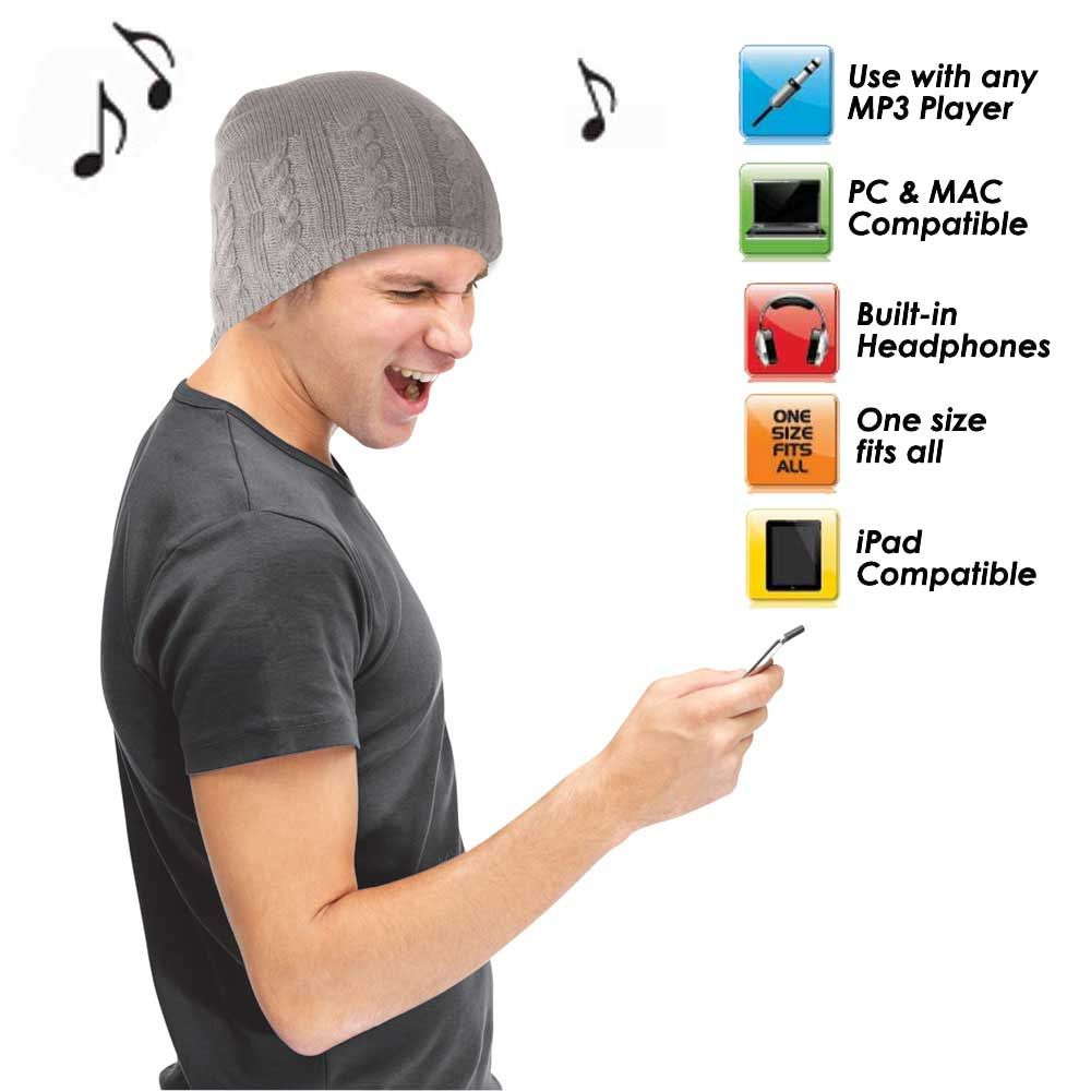 Cable Knit Headphone Hat. Beanie with integrated speakers.  cf0c63f347b