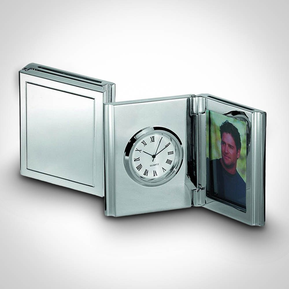 Personalised Desk Clock and Photo Frame - Hinged Photo Frame and ...
