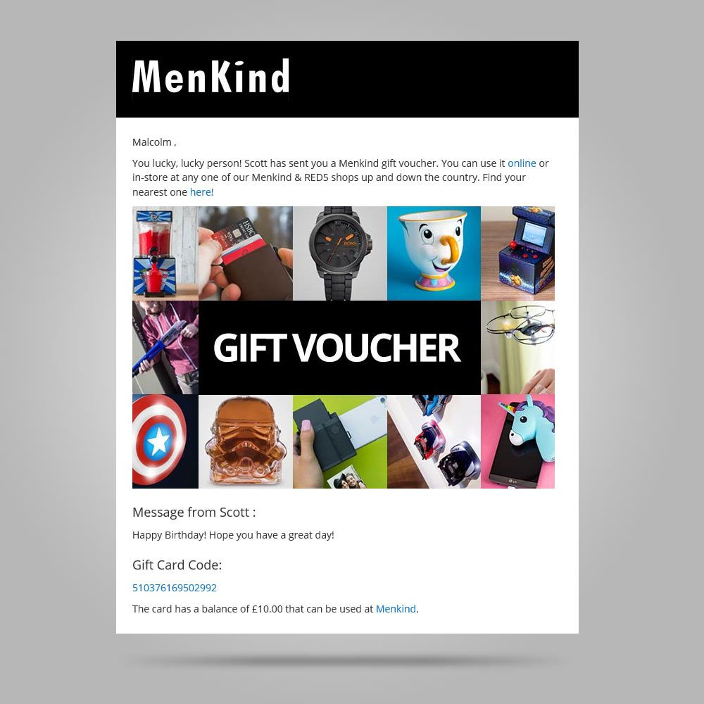 gift card menkind