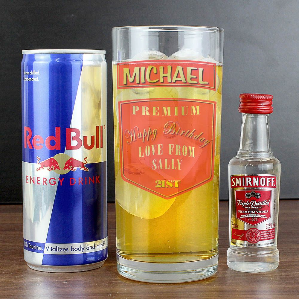personalised vodka glass red bull set menkind. Black Bedroom Furniture Sets. Home Design Ideas