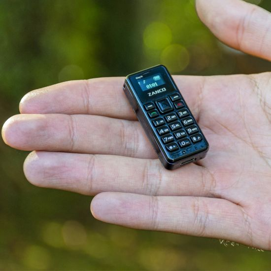 Worlds Smallest Phone Zanco t1 in palm of hand