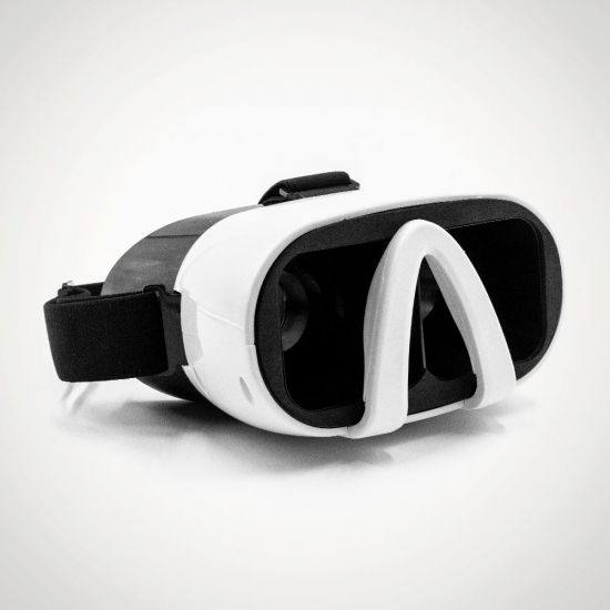 Vizor 3D Virtual Reality Glasses - White on grey background