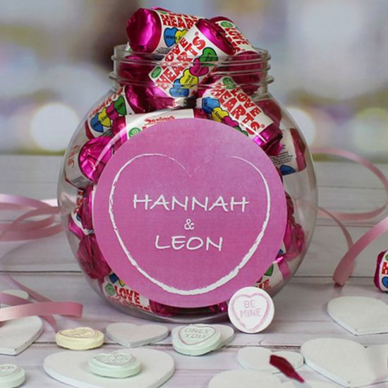 Personalised Mini Sweet Jar with Love Hearts - Lifestyle