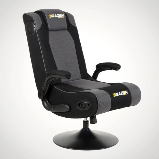 BraZen Serpent Gaming Chair – Black and Grey - Grey Background