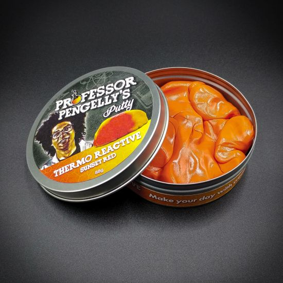 Professor Pengelly's Colour Changing Putty Thermo Reactive Sunset Red tin open