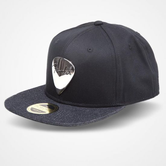 2604b4bed11 Black Fender Snapback Cap with Metal Badge