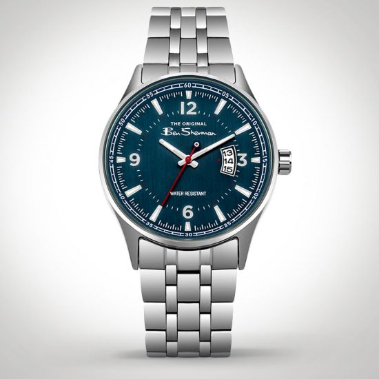 Ben Sherman BS008USM Watch Silver front facing on a grey background