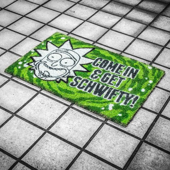 Rick and Morty Get Schwifty Doormat shot on a stylised grey tiled floor