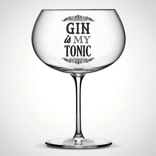 Gin is My Tonic Bubble Glass on a grey background