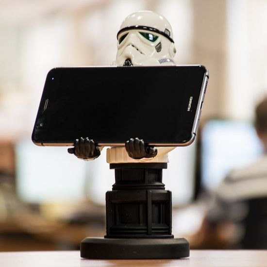"Stormtrooper 8"" Cable Guy holding a phone in an office"