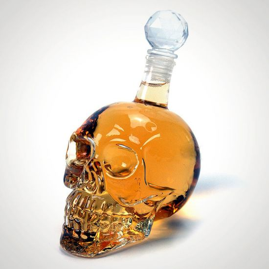 Skull Decanter on a grey background