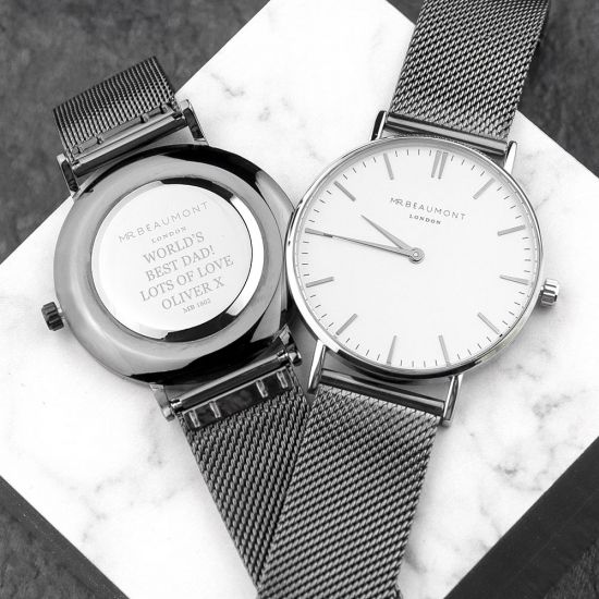 TRE-Metallic Charcoal and White Mesh Watch - Lifestyle