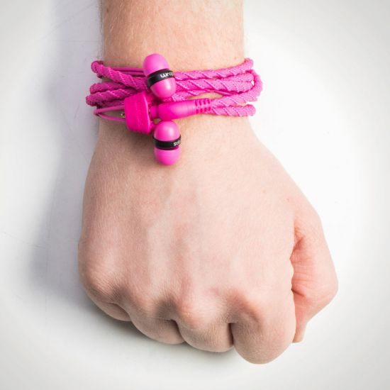 Wraps Classic Headphones - Pink on a wrist