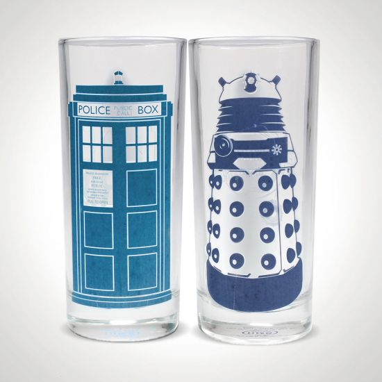 Doctor Who TARDIS and Dalek Cold Change Glasses - Set of 2 on grey background