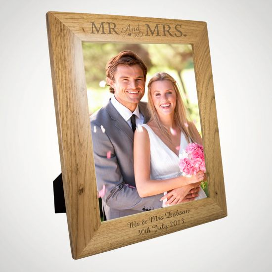 Personalised 8x10 Mr & Mrs Wooden Photo Frame - Grey Background