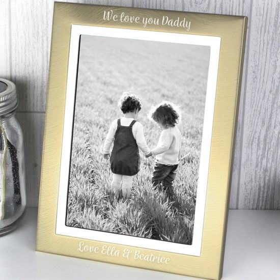 Personalised Scripted Gold and Silver Brushed 5x7 Photo Frame - Lifestyle