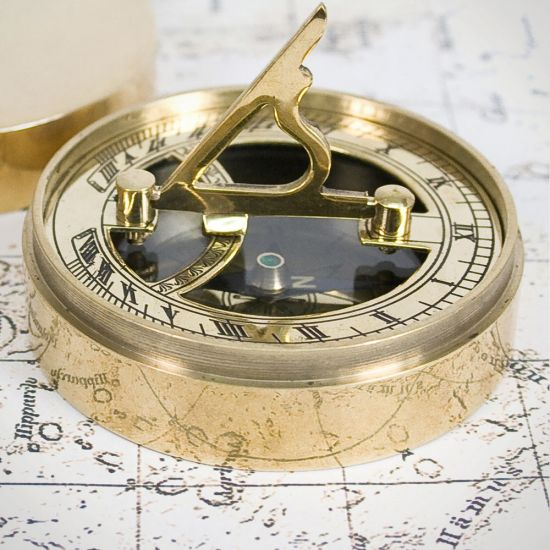 Personalised Adventurer's Brass Sundial and Compass - lifestyle