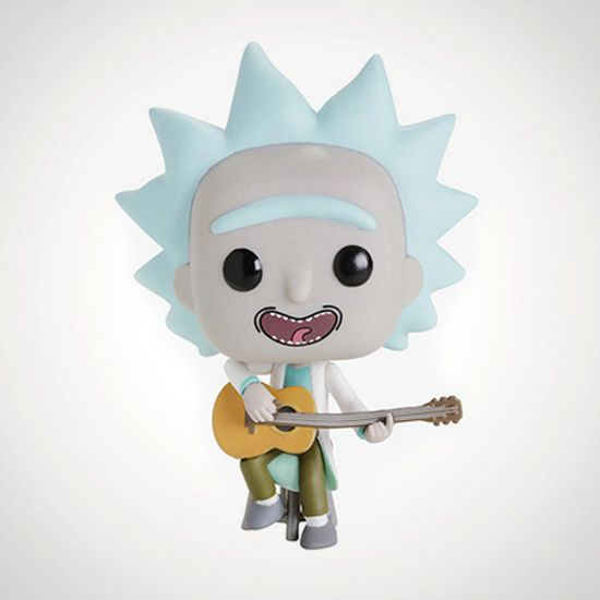 Rick & Morty Tiny Rick w/ Guitar Pop! Vinyl - Grey Background